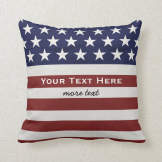 American USA Flag Patriotic July 4th Custom Throw Pillow