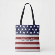 American USA Flag Patriotic July 4th Custom Tote Bag
