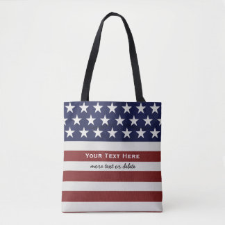 American USA Flag Patriotic July 4th Custom Tote Bag
