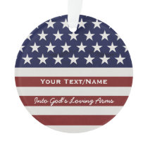 American USA Flag Patriotic July 4th In Memory Ornament