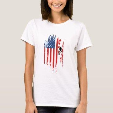 American USA Flag Scuba Diver Snorkeling Team T-Shirt