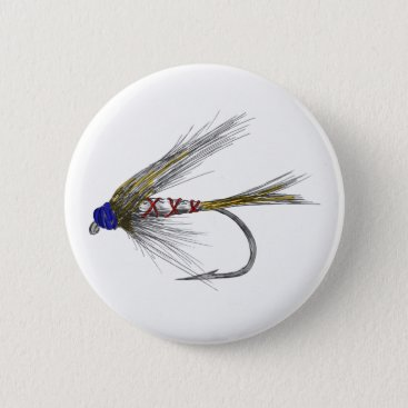 USA Themed American USA Fly fishing tie Pinback Button