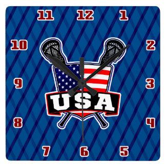 American USA Lacrosse Square Clock