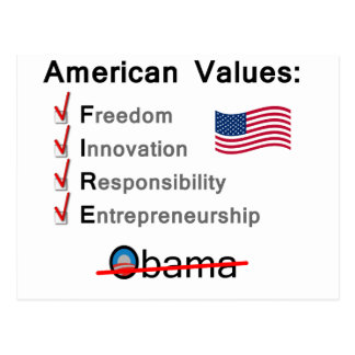 American Values: Fire Obama! Postcard