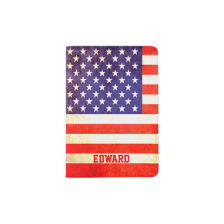 American vintage flag style named passport cover passport holder