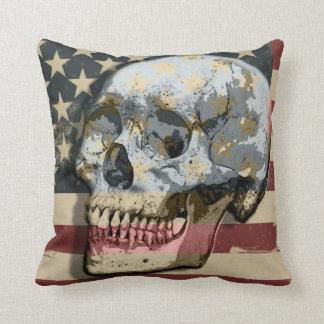American Vintage Style Stars & Stripes Flag Skull Throw Pillow