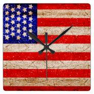 American Vintagel Flag 2 Square Wall Clocks
