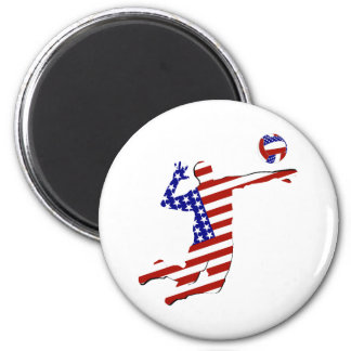 American Volleyball Player 2 Inch Round Magnet