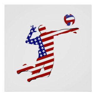 American Volleyball Player Poster
