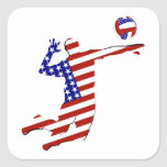 American Volleyball Player Square Sticker