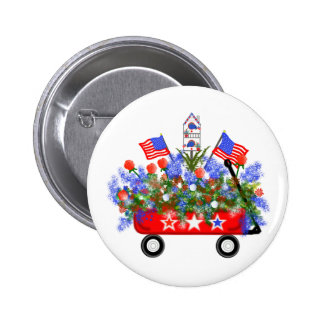 """American Wagon Bouquet"" Button"