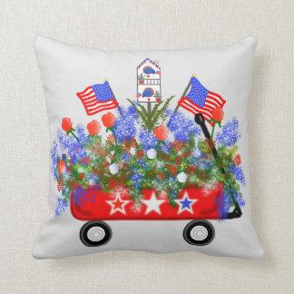 """American Wagon Bouquet"" Throw Pillow"