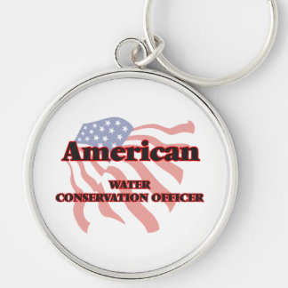 American Water Conservation Officer Silver-Colored Round Keychain