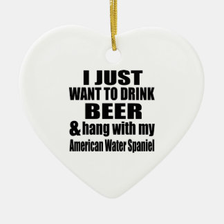 American Water Spaniel Dog Designs Ceramic Ornament
