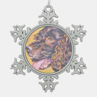 American Water Spaniel Fine Art Painting Snowflake Pewter Christmas Ornament