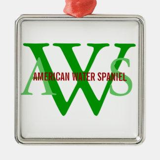 American Water Spaniel Monogram Metal Ornament
