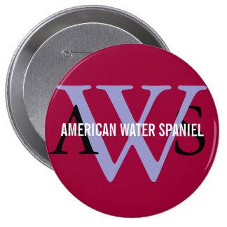 American Water Spaniel Monogram Pinback Button