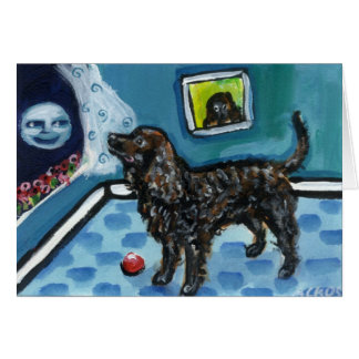 American Water Spaniel sees smiling moon Greeting Card