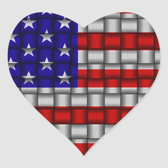 American Weave Heart Sticker