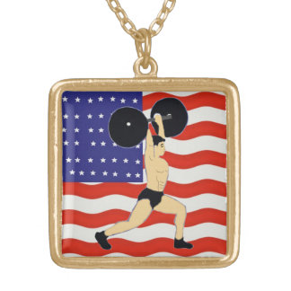 American weightlifter personalized necklace