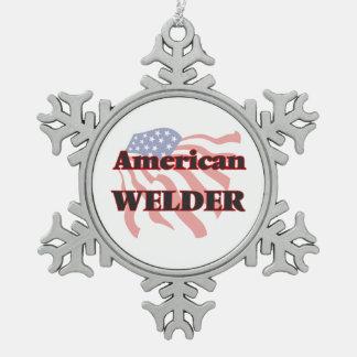 American Welder Snowflake Pewter Christmas Ornament