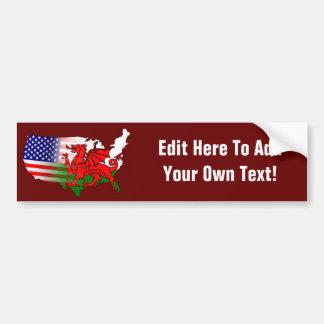 American Welsh Flags Map Car Bumper Sticker
