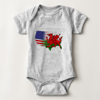 American Welsh Flags Map One Piece Baby Bodysuit
