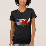 American Welsh Flags Map T-shirts