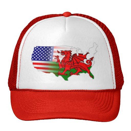 American Welsh Flags Map Trucker Hats