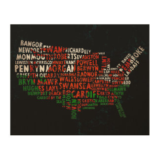 American Welsh Place Names Map Wood Print