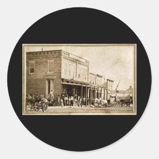 American West Street Scene 1867 Classic Round Sticker