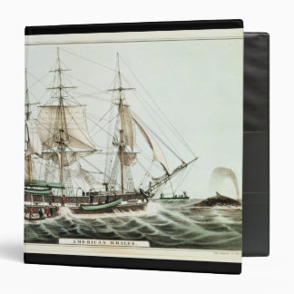 American Whaler, engraved by Nathaniel Currier 3 Ring Binder