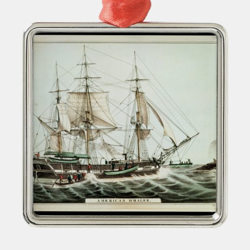American Whaler, engraved by Nathaniel Currier Metal Ornament