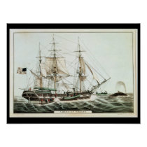 American Whaler, engraved by Nathaniel Currier Poster