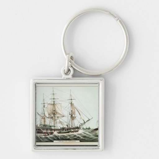 American Whaler, engraved by Nathaniel Currier Silver-Colored Square Keychain