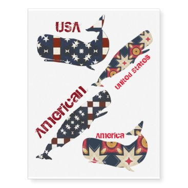 USA Themed American Whales Temporary Tattoos
