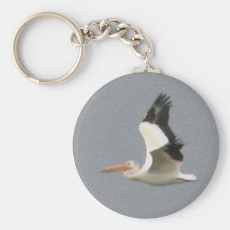 American White Pelican Basic Round Button Keychain