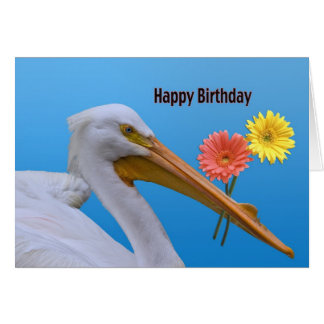 American White Pelican Birthday Card