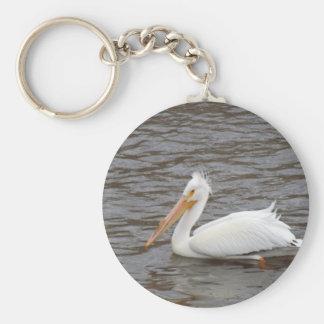 American White Pelican In Breeding Condition Basic Round Button Keychain