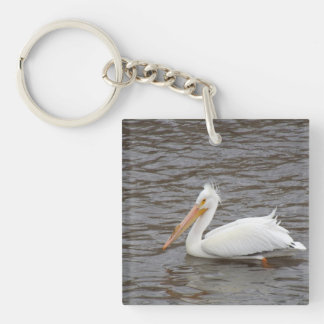 American White Pelican In Breeding Condition Double-Sided Square Acrylic Keychain