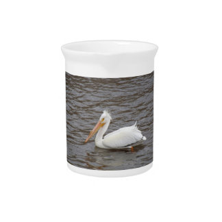 American White Pelican In Breeding Condition Beverage Pitchers