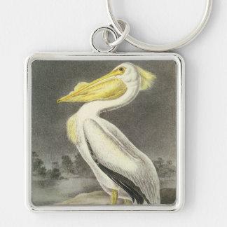 American White Pelican, John Audubon Silver-Colored Square Keychain