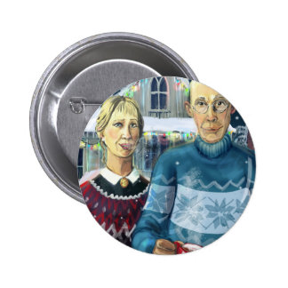 American winter - Grant Wood parody Pinback Buttons