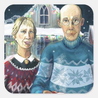 American winter - Grant Wood parody Square Sticker