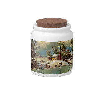 American Winter Life Christmas Scene Candy Dish