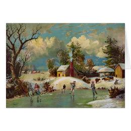 American Winter Life Christmas Scene Card
