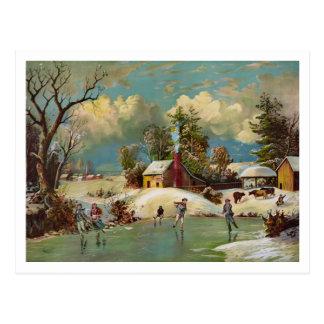 American Winter Life Christmas Scene Postcard