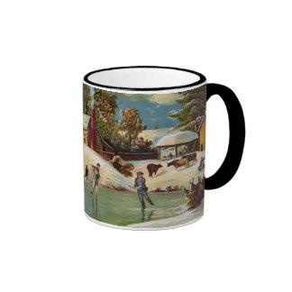 American Winter Life Christmas Scene Ringer Mug