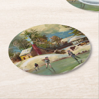 American Winter Life Christmas Scene Round Paper Coaster