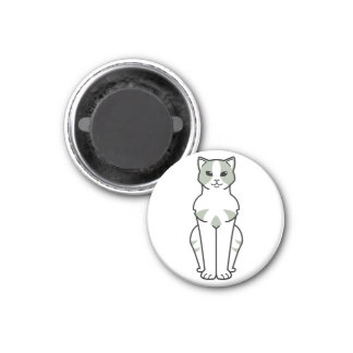 American Wirehair Cat Cartoon 1 Inch Round Magnet
